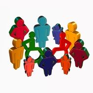 colorful icons, group of people including disabled ones