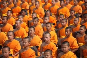 Buddhists meditate in Thailand