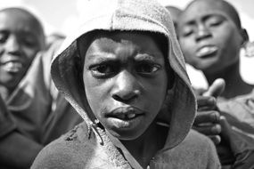 black and white photo of african children