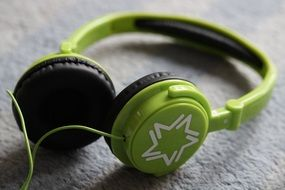 headphones green color for listening music