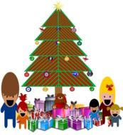 painted Christmas tree, gifts and children