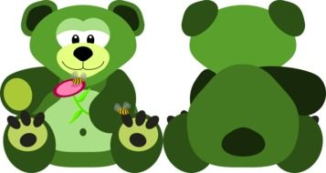 green teddy bear knuffig