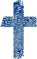 cross with blue and white print