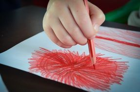 drawing with red pencil