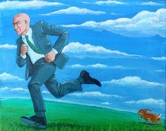 drawn hare running after a businessman