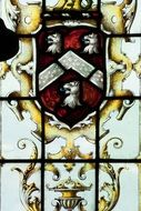 England coat of arms on leaded glass
