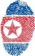 colors of the flag of north korea on the fingerprint
