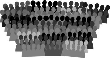 silhouette of a crowd of people on a white background