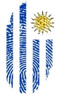 Fingerprint in the colors of the flag of Uruguay
