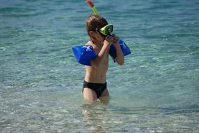 child diver water sea