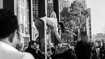 Black and white photo of the performer