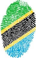 Clipart of tanzania flag in a shape of fingerprint