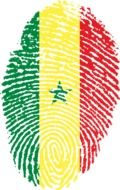 fingerprint painted in the colors of the flag of Senegal