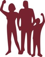 vinous silhouette of a friendly family