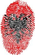 fingerprint with the image of the flag of Albania