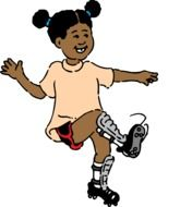 happy dark skin child girl in football shoes