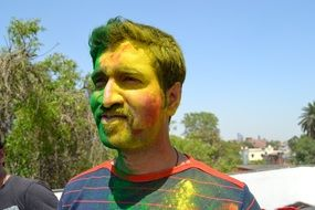 man with a painted face