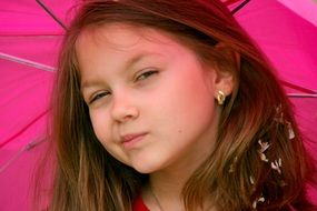 girl with pink umbrella portrait