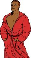 drawing of a man in a red coat