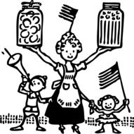 mother with children food canning
