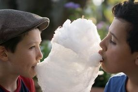 child boys eating candy-floss