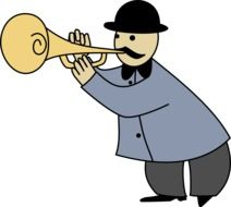 drawing of a man playing the trumpet