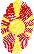 Fingerprint with the flag of Macedonia clipart