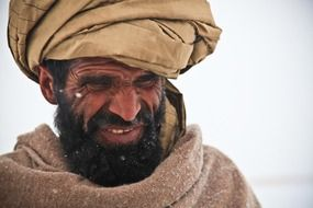 portrait of afghan man in turban