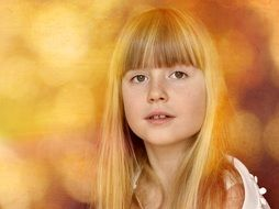 portrait of blond girl with pretty face