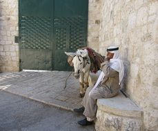 bedouin with a donkey
