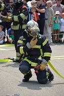 fire fighter in a gas mask