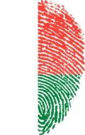Half fingerprint with the image of the flag of Madagascar