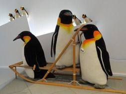 penguin family stands on a sled