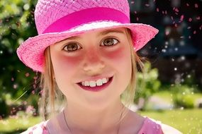 beautiful girl in pink hat