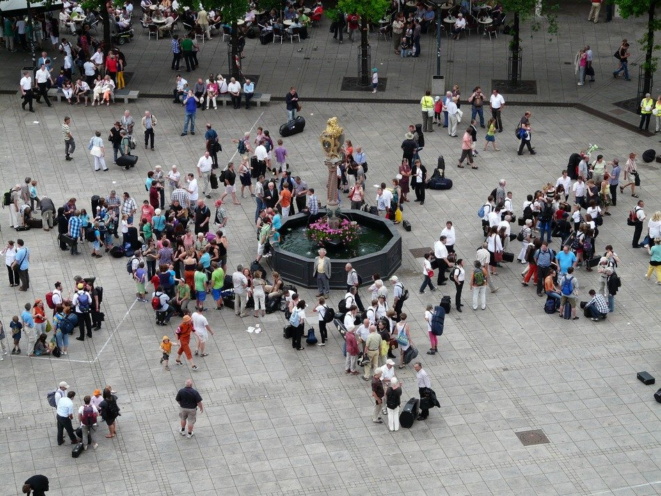 Top view of people in the square