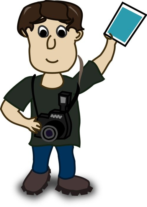 boy with camera drawing