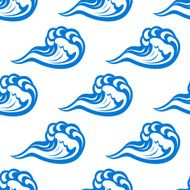 Blue waves seamless pattern on white