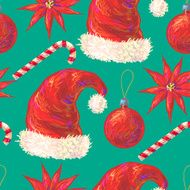 Seamless pattern with Christmas Santa hat candy cane ball flower