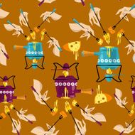 Cheese fondue Traditional swiss food Seamless background pattern