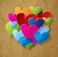 Valentines postcard hearts colorful on a crumpled paper brown background N2