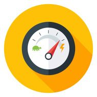 Slow and Fast Speedometer Flat Circle Icon with long Shadow N2