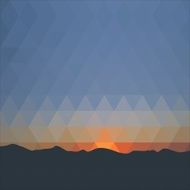 Background of triangles Mountains against the evening sunset