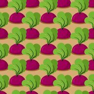 Beet seamless pattern Plantation beets with haulm vector backgr