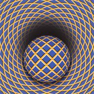 Optical illusion of the ball is rolling into a hole