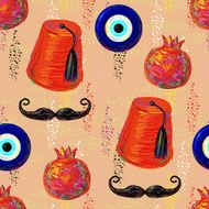 Turkish Seamless pattern with fez mustache pomegranate and eye