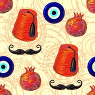 Turkish Seamless pattern with fez mustache pomegranate and eye N2