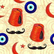 Turkish Seamless pattern with fez mustache Crescent and Star eye