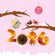 happy new year 2016 with birdhouse for winter Gold clock