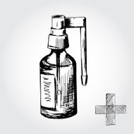 Hand drawn black and white medical spray bottle