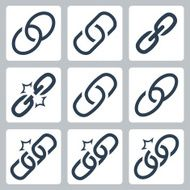 Chain links vector icon set